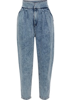 Iro Woman Staunch Acid-wash High-rise Tapered Jeans Blue