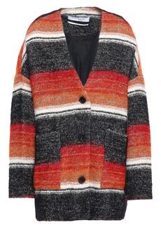 Iro Woman Striped Cotton-blend Bouclé-tweed Coat Orange