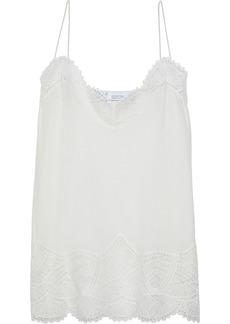 Iro Woman Strive Lace-trimmed Washed-silk Camisole Off-white