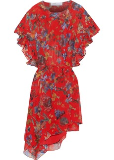 Iro Woman Submari Ruffle-trimmed Floral-print Silk-georgette Dress Red