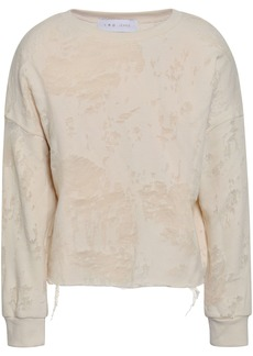 Iro Woman Sudami Distressed Burnout French Cotton-blend Terry Sweatshirt Beige