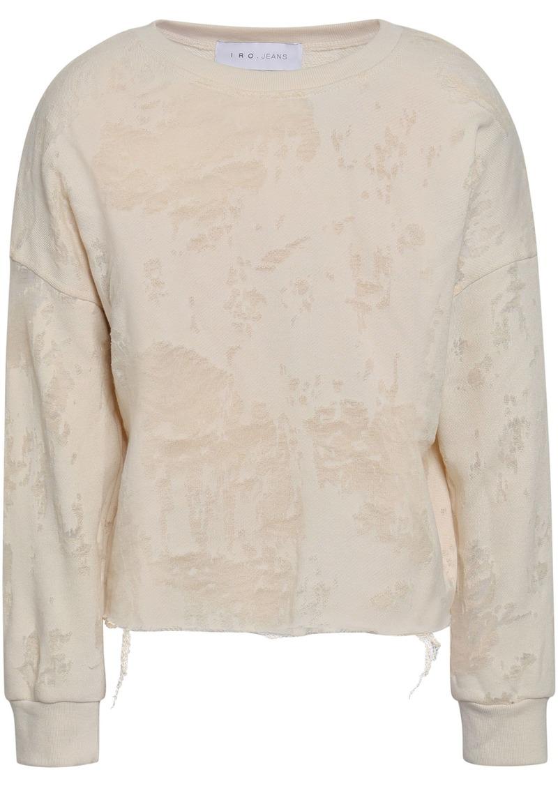 Iro Woman Sudami Distressed Burnout French Cotton-blend Terry Sweatshirt Beige