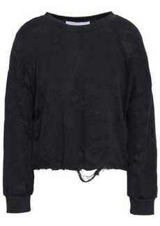 Iro Woman Sudami Distressed French Cotton-blend Terry Sweatshirt Black