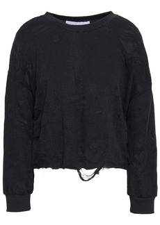 Iro Woman Sudami Distressed French Cotton-blend Terry Sweatshirt Black