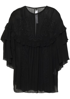 Iro Woman Sude Ruffled Broderie Anglaise Georgette Blouse Black