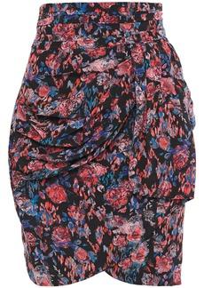 Iro Woman Sway Draped Floral-print Silk-crepe Mini Skirt Pink