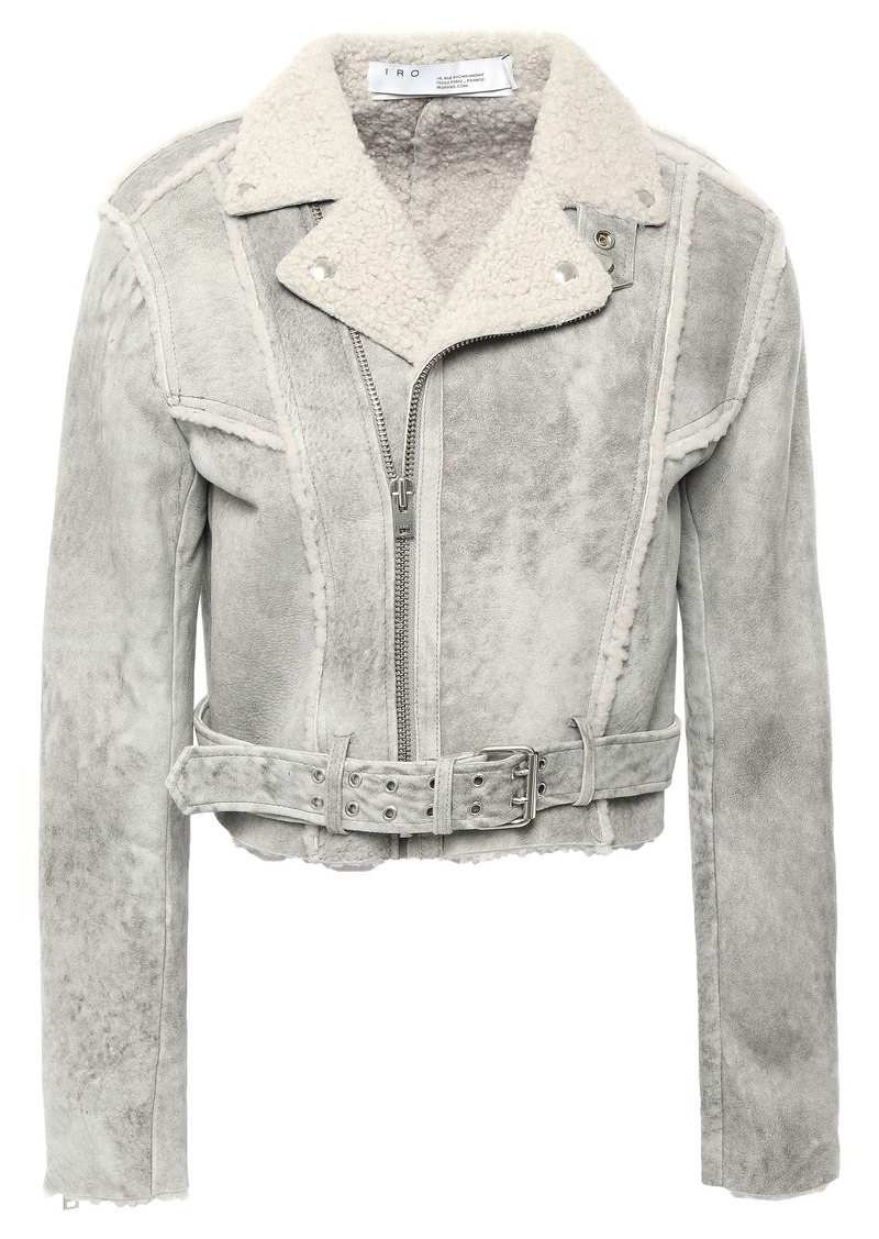 Iro Woman Synal Cropped Suede-effect Shearling Biker Jacket Light Gray