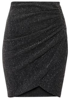 Iro Woman Tacite Wrap-effect Metallic Striped Stretch-mesh Mini Skirt Black