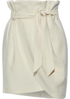 Iro Woman Taolia Wrap-effect Linen And Silk-blend Bouclé Mini Skirt Ecru