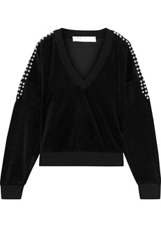 Iro Woman Tapes Studded Cotton-blend Velvet Sweatshirt Black