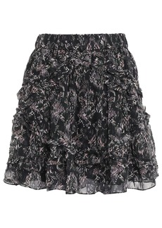 Iro Woman Tiered Printed Georgette Mini Skirt Black