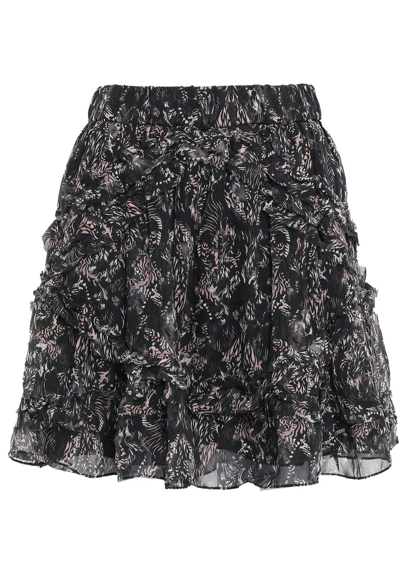 Iro Woman Tiered Printed Georgette Mini Skirt Black
