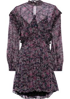 Iro Woman Tinkle Pleated Printed Georgette Mini Dress Magenta