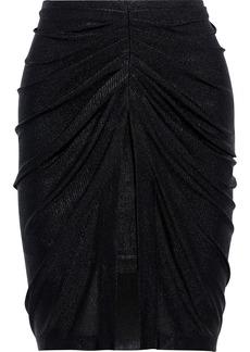 Iro Woman Tirda Ruched Metallic Textured-jersey Mini Skirt Black