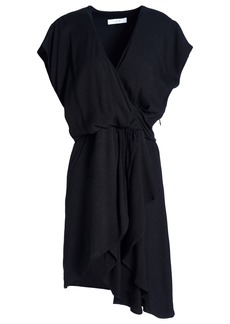 Iro Woman Tralor Asymmetric Wrap-effect Crepe Mini Dress Black