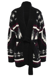 Iro Woman Trendy Belted Jacquard-knit Alpaca-blend Cardigan Black