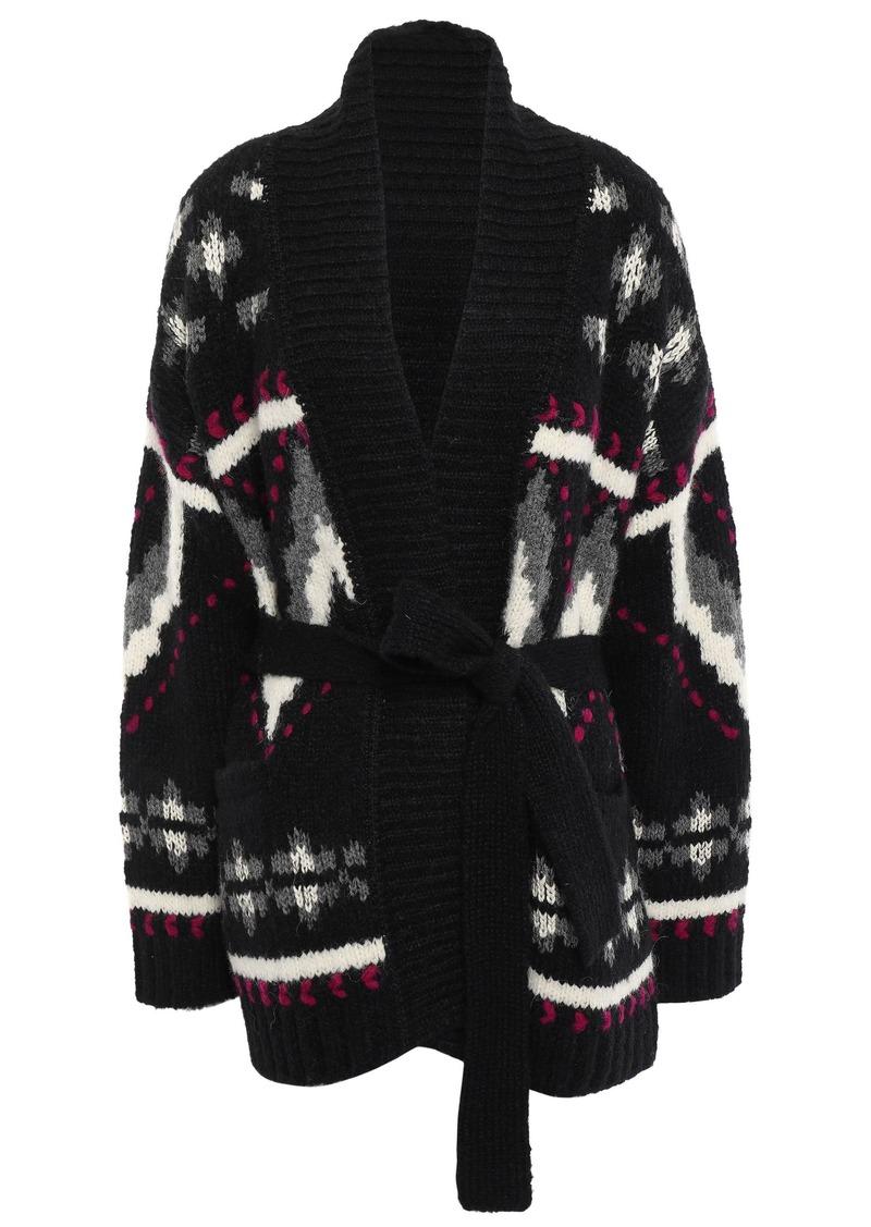 Iro Woman Trendy Belted Jacquard-knit Alpaca-blend Cardigan Black