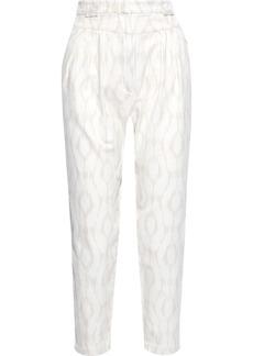Iro Woman Trizay Cropped Pleated Cotton-jacquard Tapered Pants Ivory