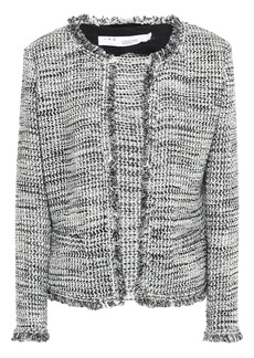Iro Woman Unplug Frayed Metallic Bouclé-tweed Jacket Gray