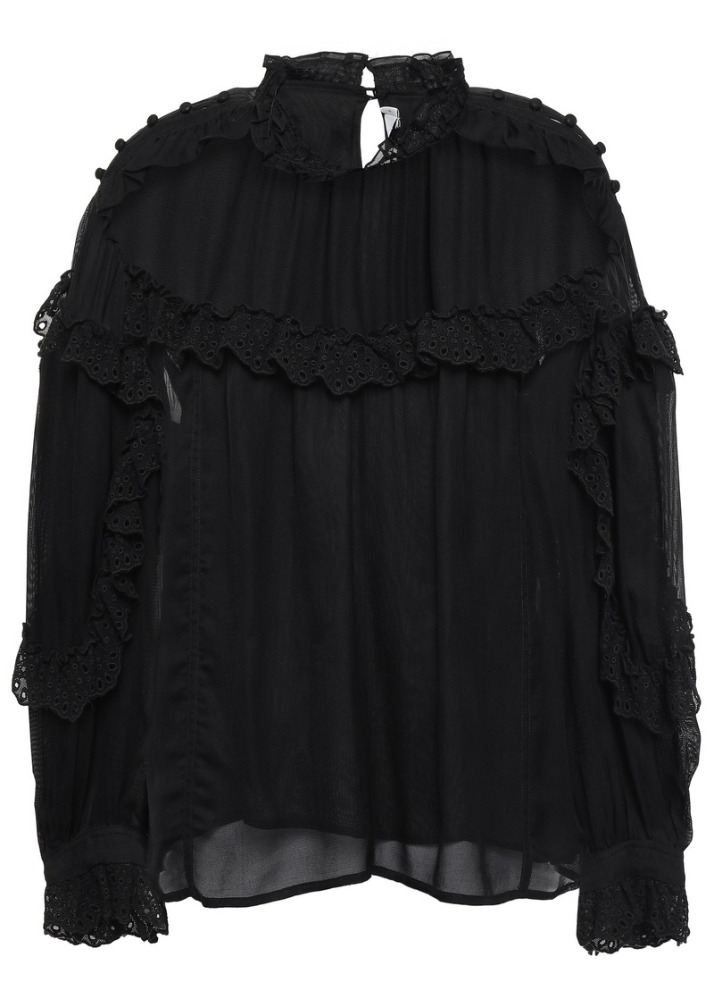 Iro Woman Utopia Ruffled Broderie Anglaise-trimmed Mesh Blouse Black