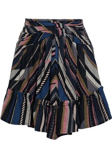 Iro Woman Verene Ruched Silk And Cotton-blend Jacquard Mini Skirt Black