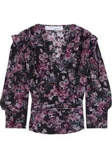 Iro Woman Vulca Ruffle-trimmed Floral-print Silk Crepe De Chine Blouse Dark Purple