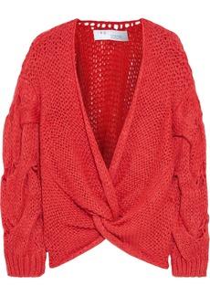 Iro Woman Waka Twist-front Cable-knit Sweater Papaya