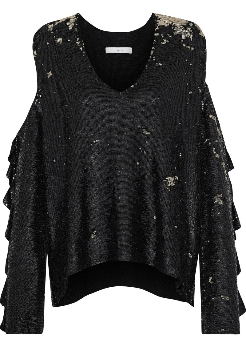 Iro Woman Waleast Cold-shoulder Sequined Knitted Top Black