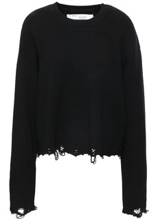 Iro Woman Webro Distressed Ribbed Merino Wool Sweater Black
