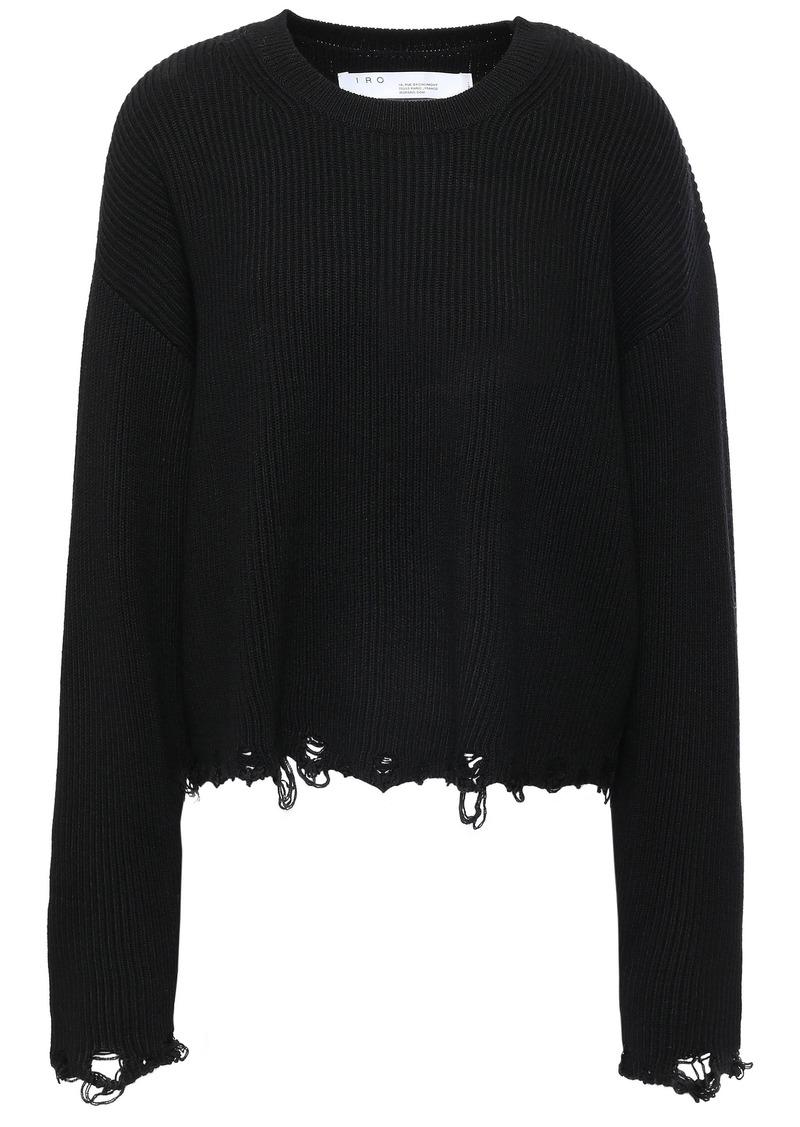 Iro Woman Webro Distressed Ribbed Merino Wool Sweater Black