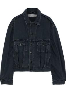 Iro Woman Wind Distressed Printed Denim Jacket Dark Denim