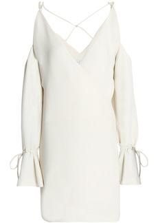 Iro Woman Wrap-effect Cold-shoulder Crepe Mini Dress Ivory