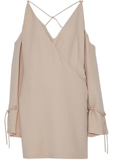 Iro Woman Wrap-effect Cold-shoulder Crepe Mini Dress Sand