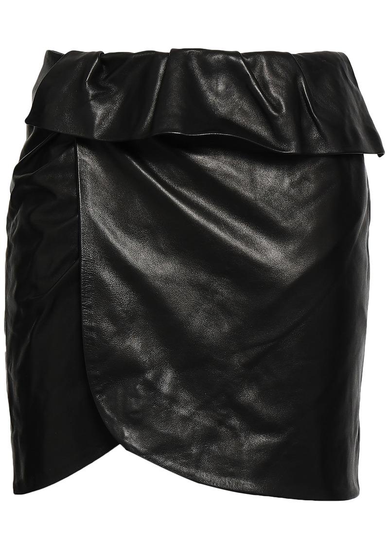 Iro Woman Wrap-effect Leather Mini Skirt Black