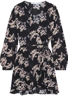 Iro Woman Floral-print Crepe De Chine Mini Wrap Dress Black