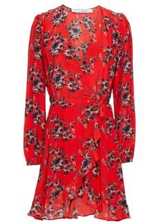 Iro Woman Floral-print Crepe De Chine Mini Wrap Dress Red