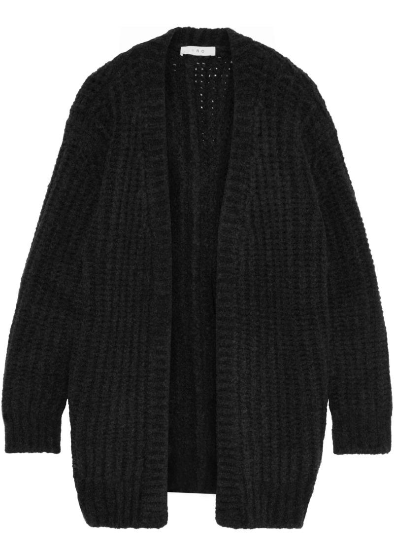 Iro Woman Yahk Ribbed Wool-blend Cardigan Anthracite