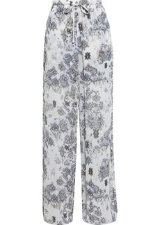 Iro Woman Zallie Printed Crepe Wide-leg Pants Off-white