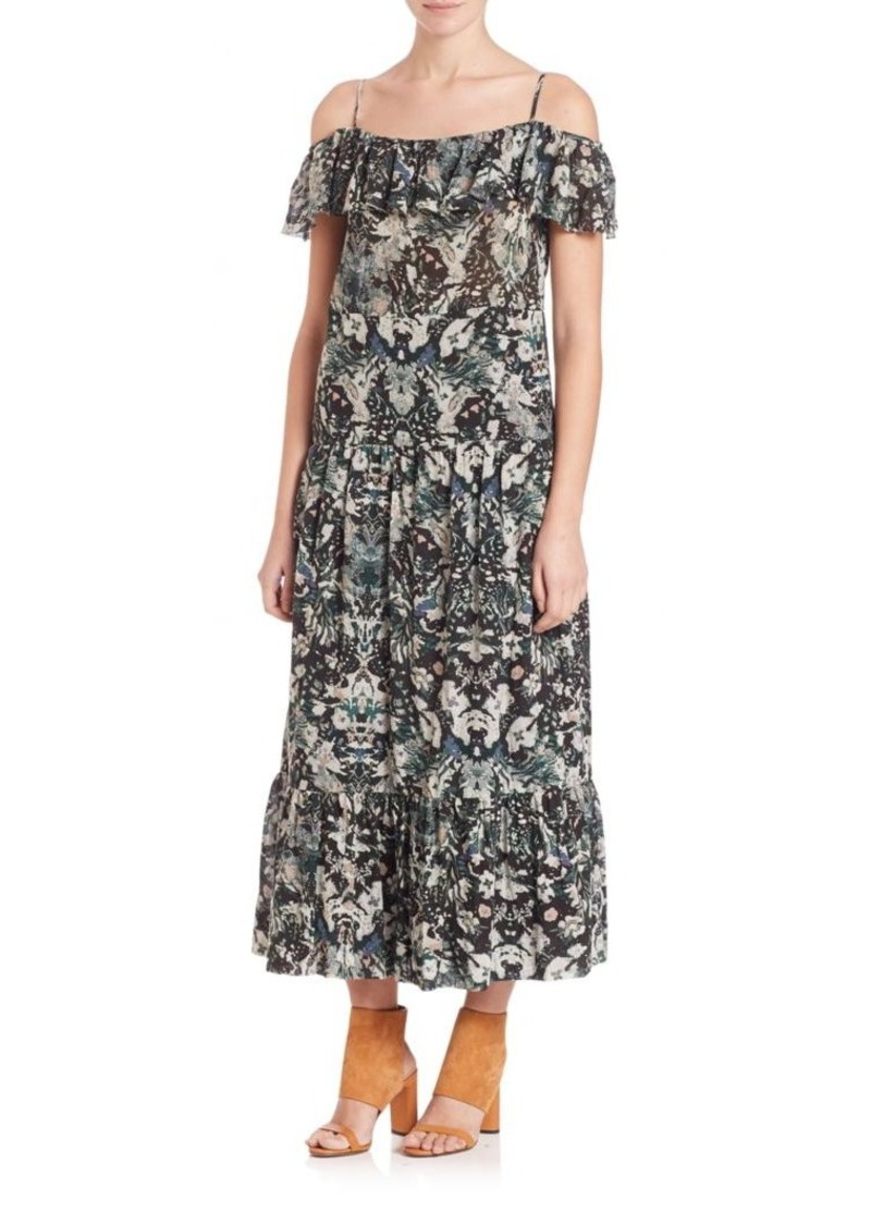 IRO Yonelia Printed Cold-Shoulder Maxi Dress