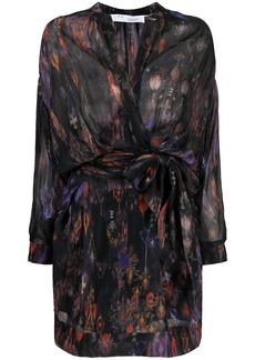 IRO Keita abstract-batik print wrap dress