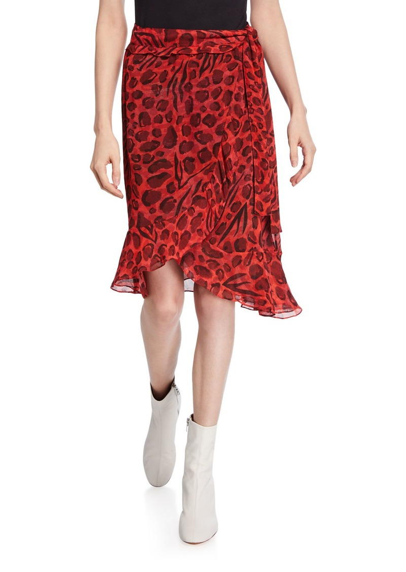 IRO Lingo Leopard-Print Wrap Skirt