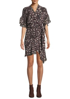 IRO Link Printed Viscose Flounce Wrap Dress