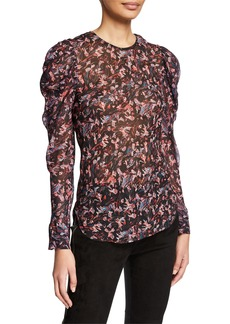 IRO Lou Printed Crewneck Ruched-Sleeve Top