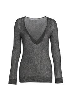 IRO Maegan Deep V-Neck Metallic Knit Sweater