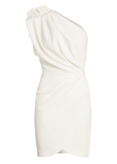 IRO Marine One-Shoulder Faux Wrap Sheath Dress