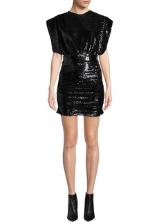 IRO Miracle Sequin Crewneck Short-Sleeve Mini Dress