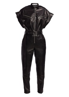 IRO Moreno Short-Sleeve Leather Jumpsuit