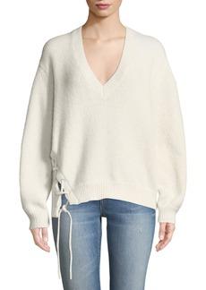 IRO Mylo V-Neck Alpaca Sweater with Lace-Up Detail