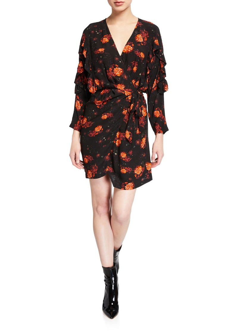 IRO Nucha Floral-Print Ruffle Wrap Dress
