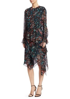 IRO Printed Long-Sleeve Asymmetric Dress
